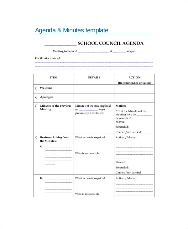 Blank School Meeting Agenda U0026 Minutes Sample Template  Blank Meeting Agenda Template