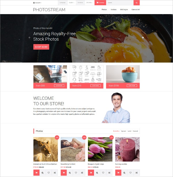 Amazing Photo OpenCart eCommerce Template $89