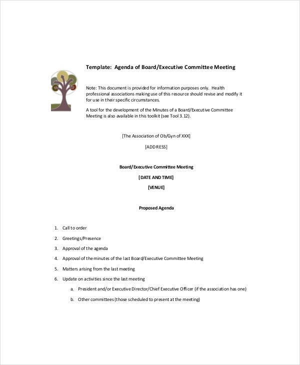 11 blank meeting agenda templates free sample example for First board meeting agenda template