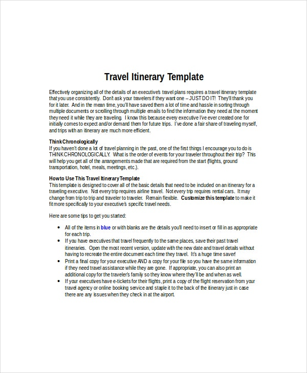Flight Itinerary Template 6 Free Word PDF Documents Download – Flight Plan Template