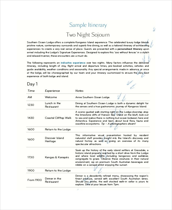 night sample itinerary template