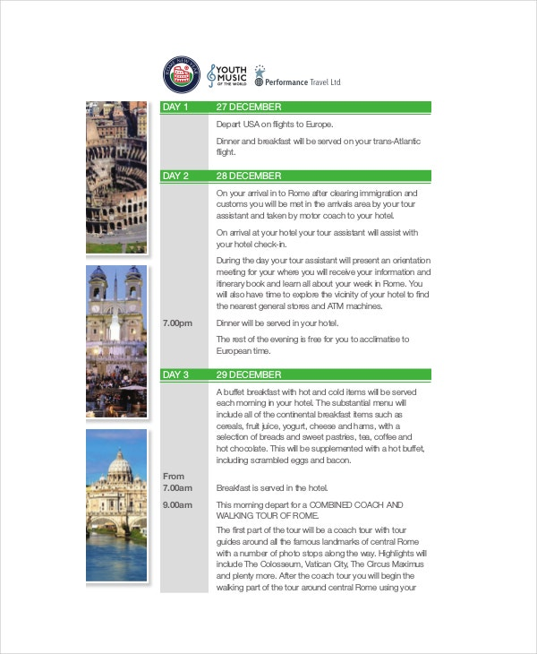 Sample Flight Itinerary Template