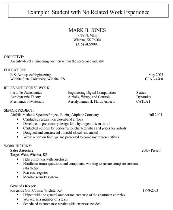 entry level resumes no experience - Computer Science Student Resume No Experience