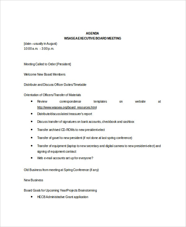 generic board meeting agenda example template