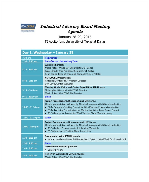 industrial advisory board meeting agenda sample