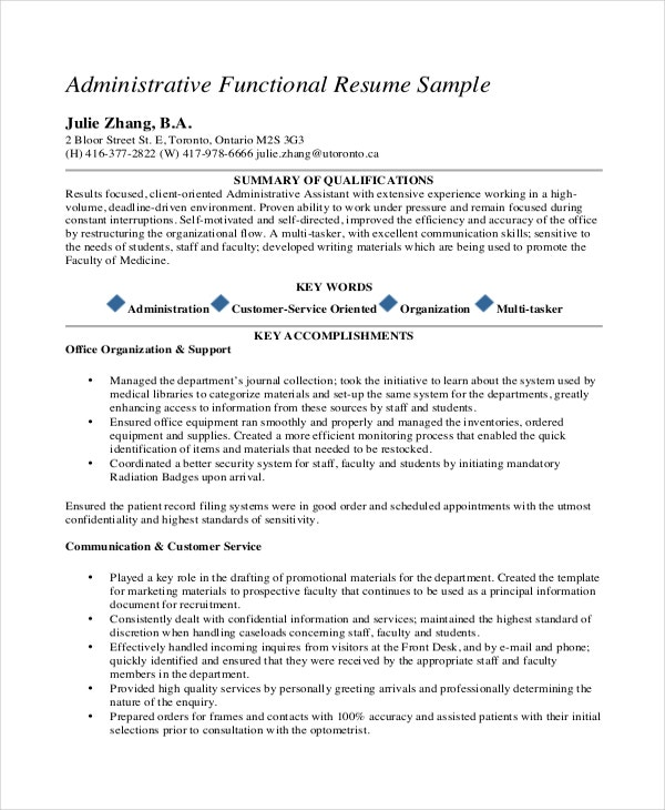 Medical Administrative Functional Resume PDF Template