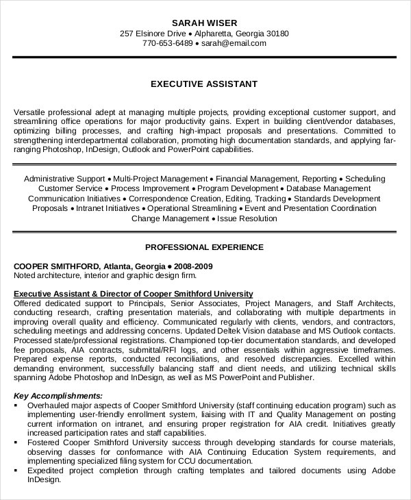 administrative assistant resume 10 free word
