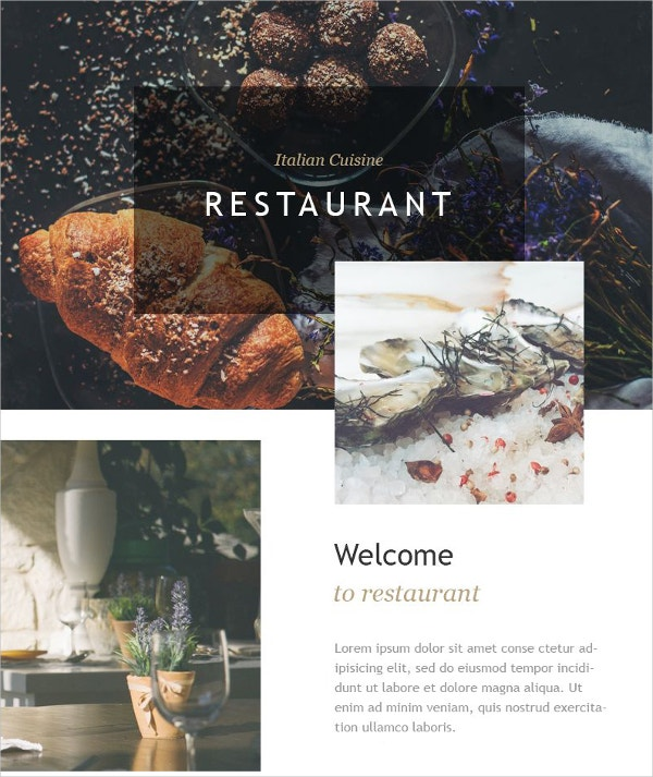 Italian Restaurant Newsletter Website Template $14