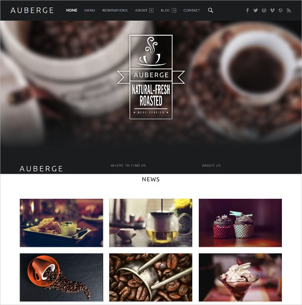 Modern Restaurant WordPress Website Template $39