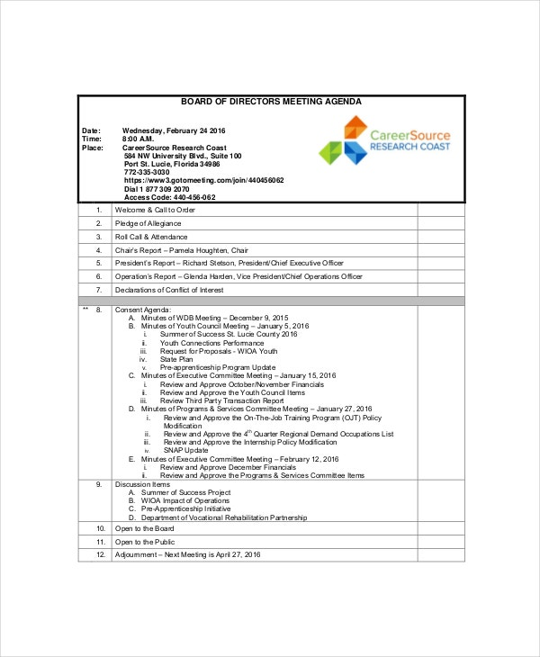 12 board of directors meeting agenda templates free for Weekly meeting calendar template