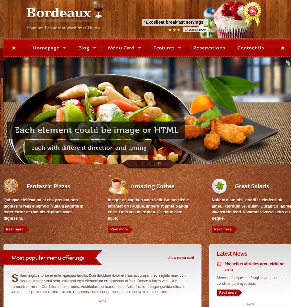 Food & Drink Restaurant WordPress Website Theme $59