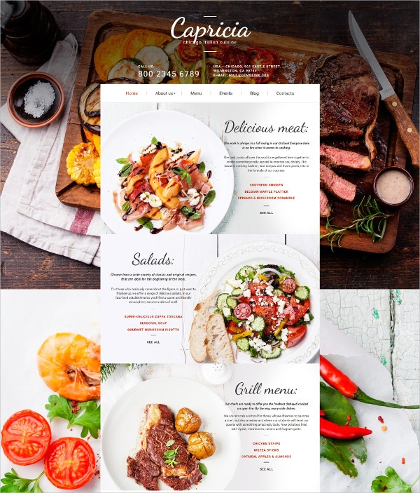 Italian Restaurant Moto CMS 3 Website Template $199