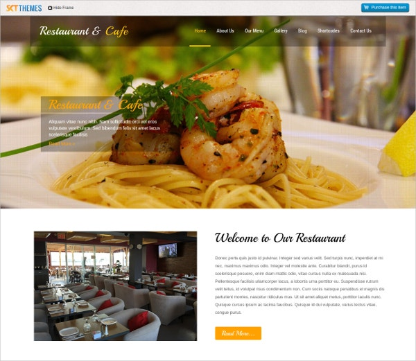 Cafe And Restaurant WordPress Website Theme $39
