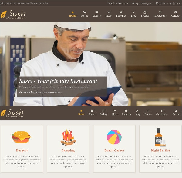 Responsive Restaurant & Bar WordPress Website Theme $59