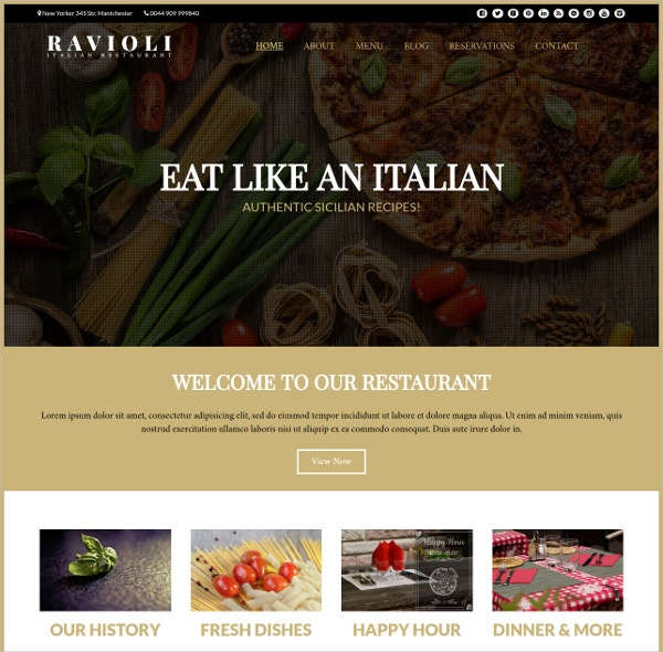 Italian Restaurant Website Theme $47