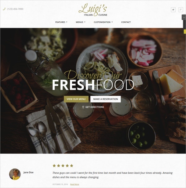 Fresh Food Restaurant WordPress Website Theme $79