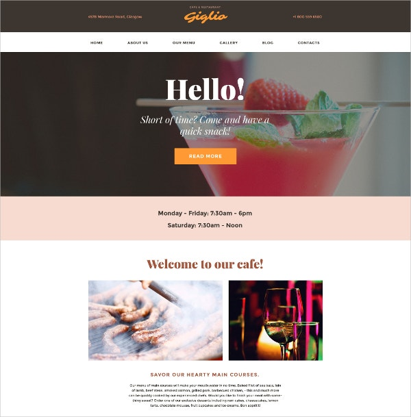 Creative Restaurant WordPress Website Theme $75