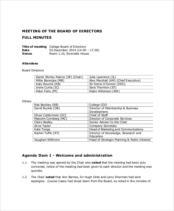 12 board of directors meeting agenda templates free for Annual board of directors meeting minutes template