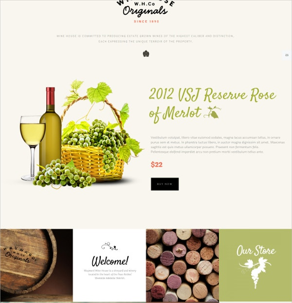 Wine & Restaurant WordPress Website Theme $59