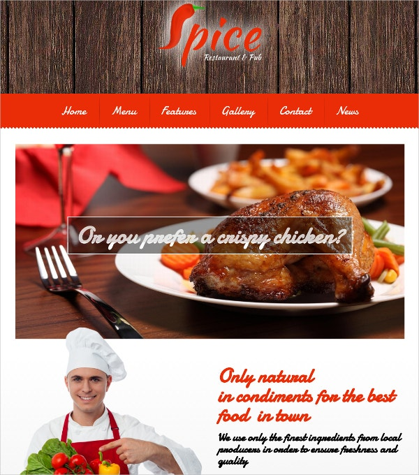 Spicy Food Restaurant WordPress Website Theme $59