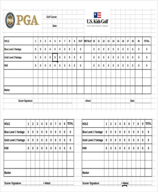Excel Golf Scoreboard Template