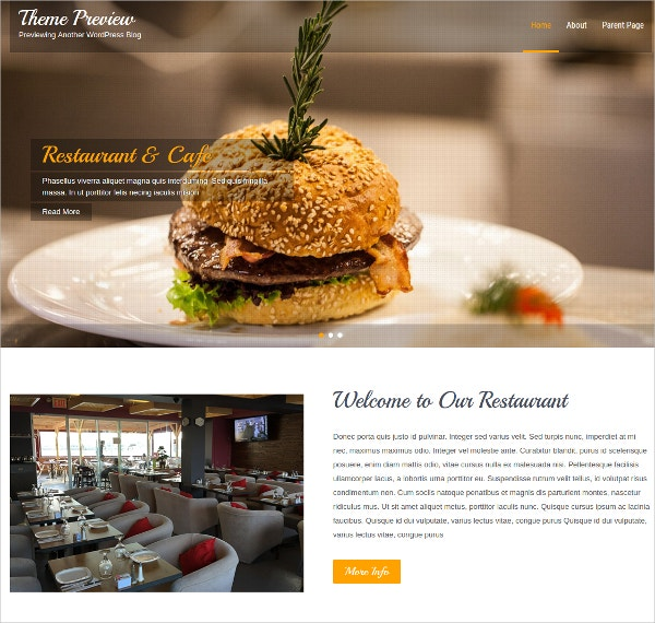 Free Restaurant WordPress Website Theme