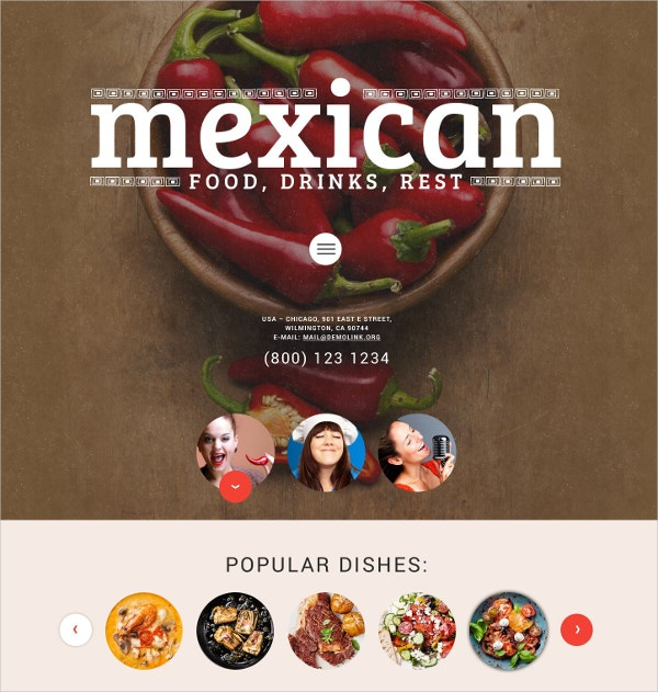 Restaurant Food WordPress Website Theme $75