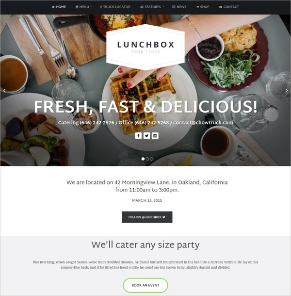 Food Truck & Restaurant WordPress Website Theme $59