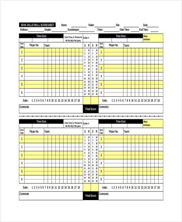 Volleyball Scorecard Template