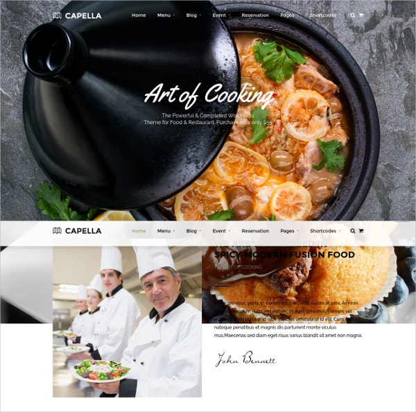 Cafe And Restaurant WordPress Website Theme $59