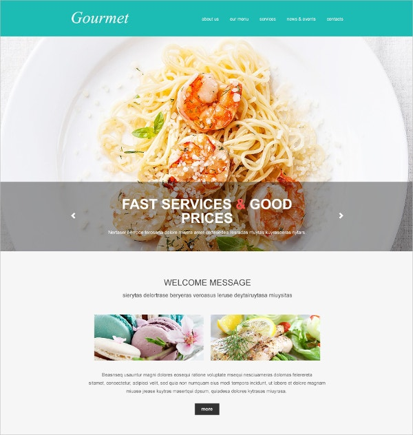Attractive Food Restaurant Muse Website Template $44