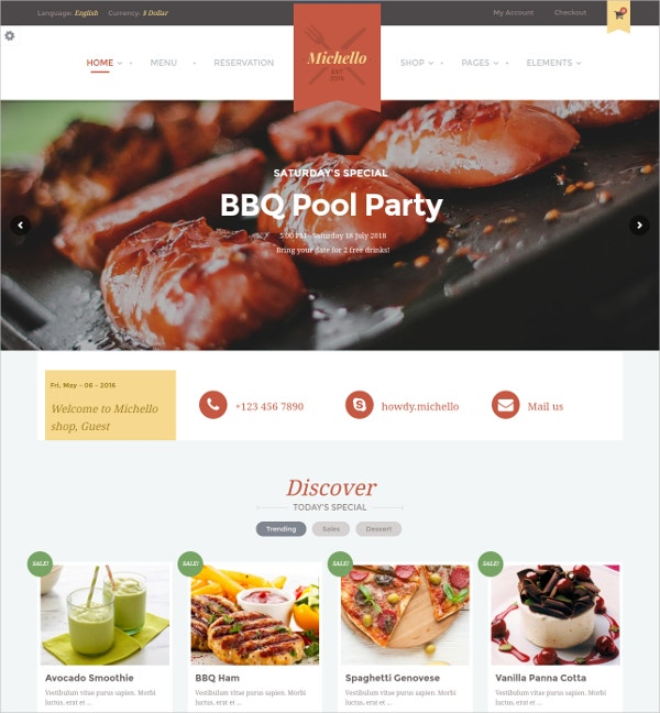 WordPress Restaurant Theme WooCommerce Website $59