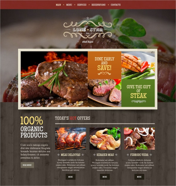 Taste Food Restaurant Website Template $69
