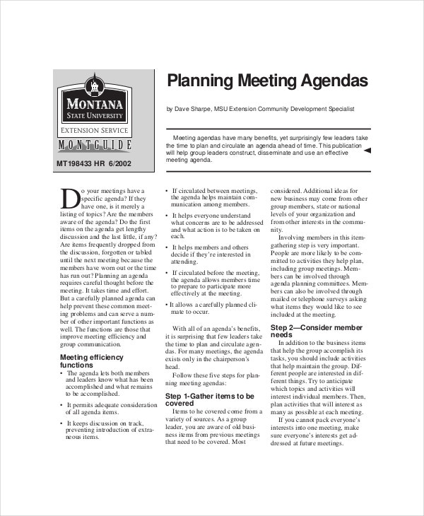 example planning meeting agenda