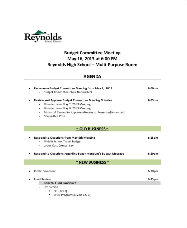 high school budget committee meeting agenda sample