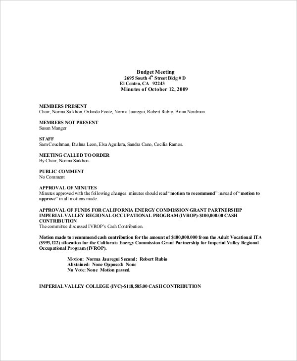 budget committee meeting agenda sample