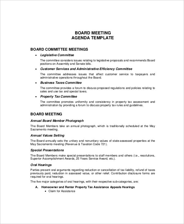 Meeting Agenda Format Basic Formal Meeting Agenda Sample Formal