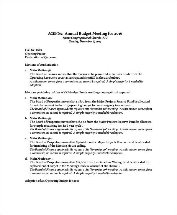 example annual budget meeting agenda