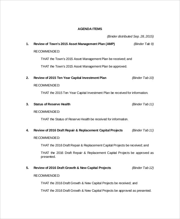 Budget Meeting Agenda Templates  Free Sample Example Format