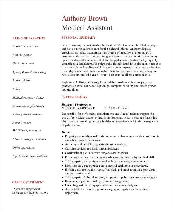 PDF Template for Senior Medical Administrative Assistant Resume