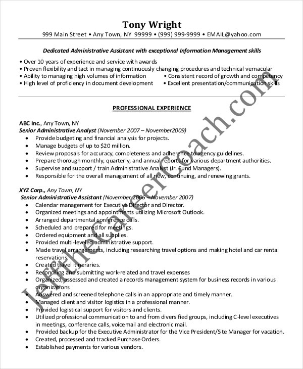 Senior administrative assistant resume 10 free word for Sample resume for executive assistant to senior executive