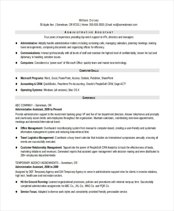 administrative assistant resume template pdf word templates
