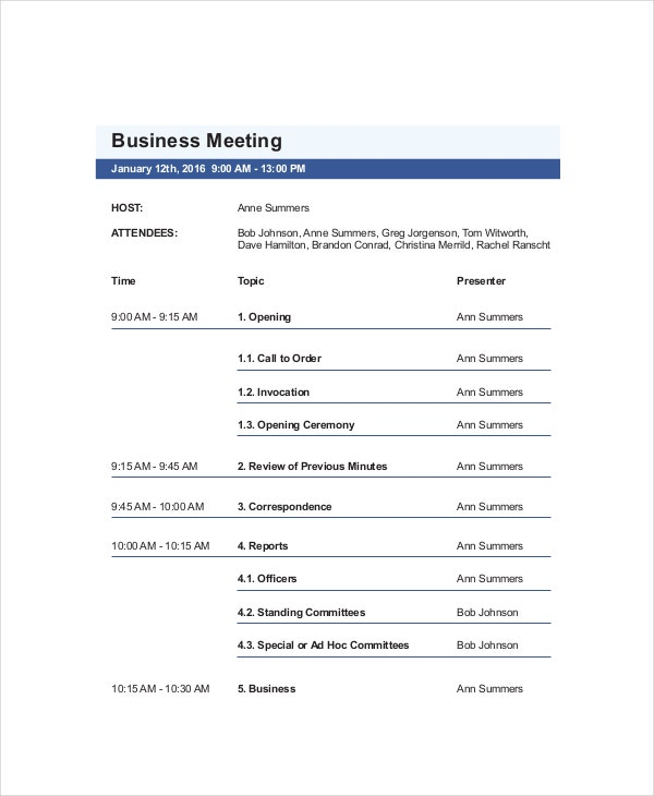 Business Meeting Agenda Templates  Free Sample Example