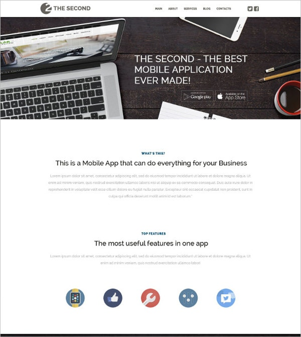 mobile applications wordpress bootstrap template