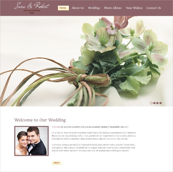 Beautiful Couple Free Website Template Wedding
