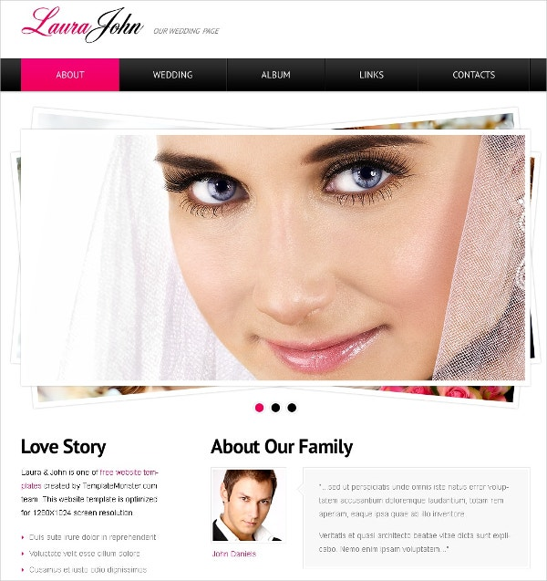 Free HTML Template For Wedding Website