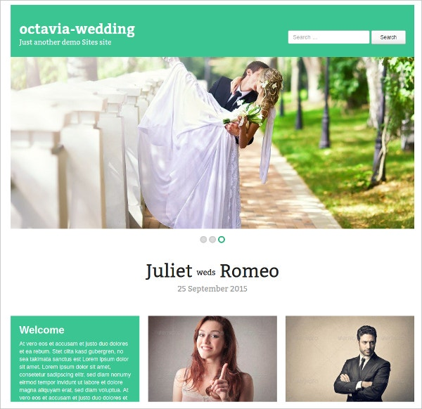 premium theme free wedding website