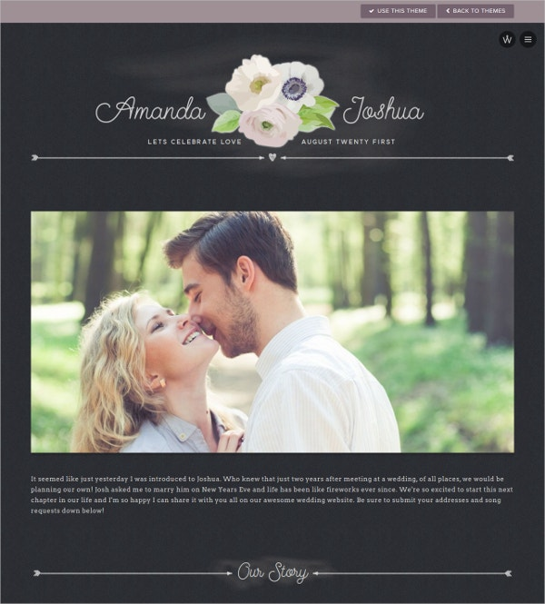 Free Beautiful Wedding Website Theme