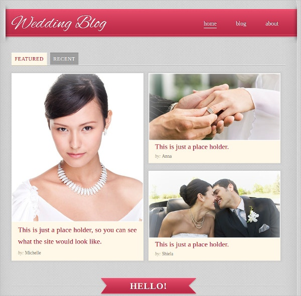 Design Free Blog Wedding Website Theme