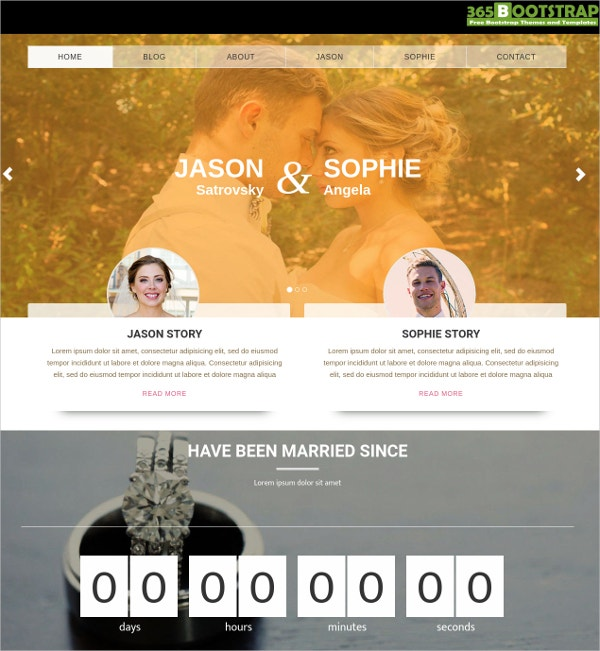 free wedding website bootstrap theme